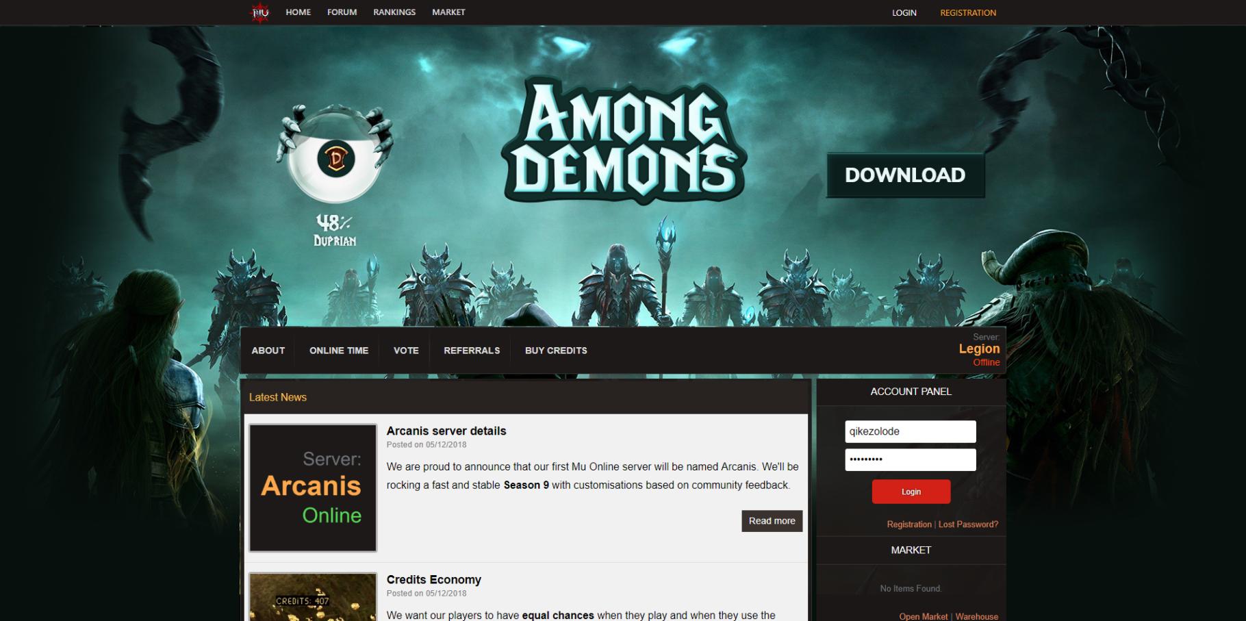 Among Demons Mu Online Private Server Website