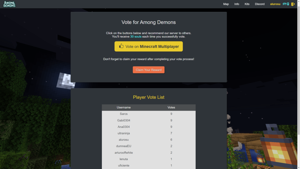 Among Demons Survival Minecraft Server Voting Page