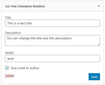 LoL Free Champion Rotation WordPress Plugin Backend